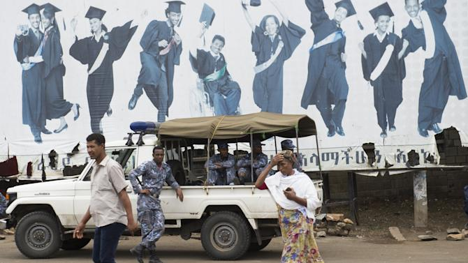 Members of the Ethiopian Federal Police stand guard in Addis Ababa on May 1, 2014