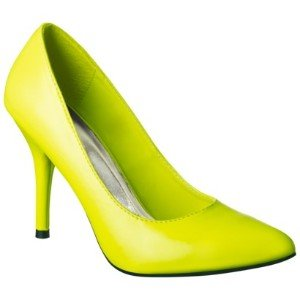 Women's Mossimo Black Vivian Pointy Heel in Neon Yellow