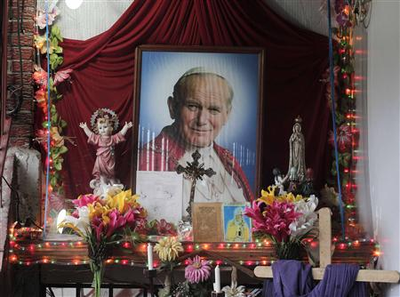 An altar of Pope John Paul II is pictured in the house of a woman, whose inexplicable curing of her medical condition has been attributed to a miracle by John Paul, in Cartago