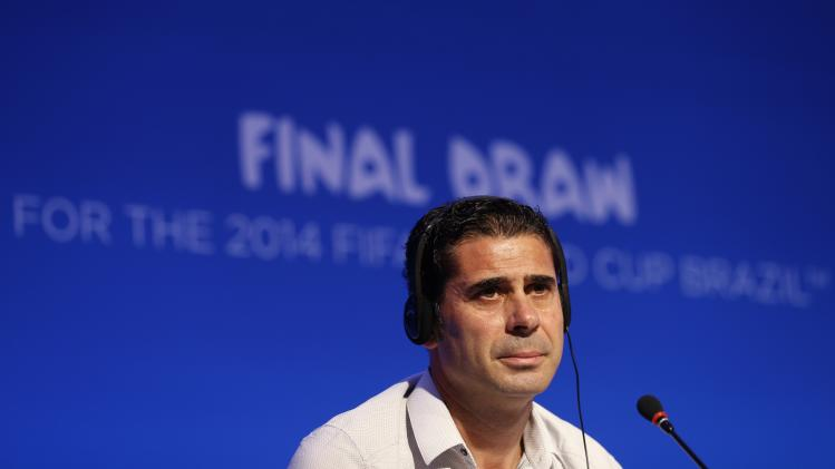 Hierro attends a news conference in Sao Joao da Mata