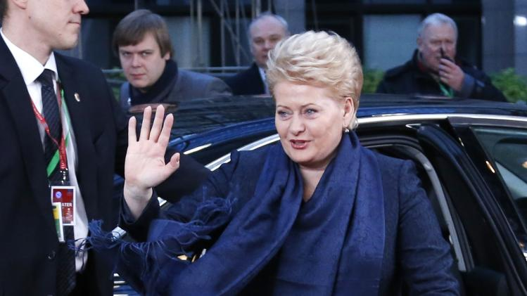 Lithuania's President Grybauskaite arrives at a EU leaders summit in Brussels