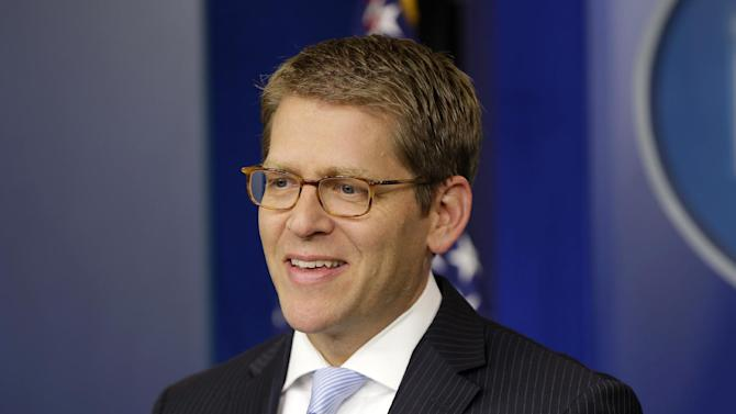 White House Press Secretary Jay Carney speaks during his daily news briefing at the White House in Washington, Thursday, Aug., 30, 2012. (AP Photo/Pablo Martinez Monsivais)