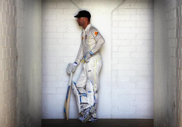 Australia's captain Clarke poses for a photograph in his batting gear after a training session at the WACA ground in Perth