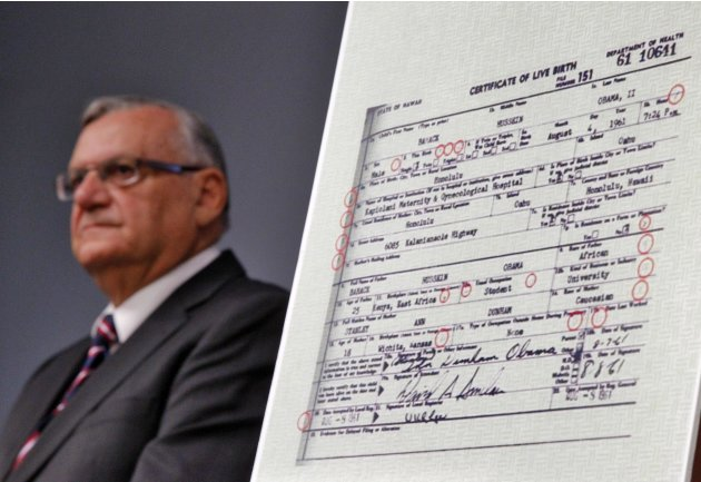Maricopa County Sheriff Joe Arpaio announces Tuesday, July 17, 2012, in Phoenix that President Obama's birth certificate, as presented by the White House in April 2011, is a forgery based on an invest