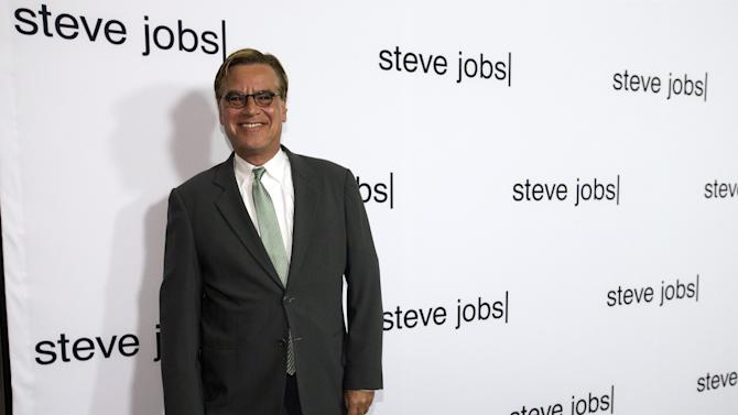 "Writer Sorkin poses at an industry screening of ""Steve Jobs"" at the Academy of Motion Picture Arts and Sciences in Beverly Hills"