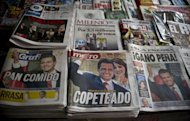 Front pages of newspapers in Mexico City show Enrique Pena Nieto, who is leading in a presidential vote count. The runner-up in Mexico's presidential vote demanded a full recount of Sunday's balloting, raising fears he could lead disruptive mass protests like he did six years ago