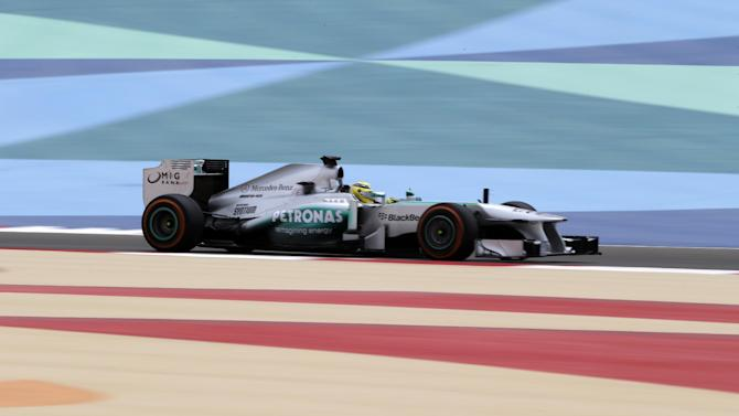 Mercedes driver Nico Rosberg of Germany steers his car during the third free practice ahead the Bahrain Formula One Grand Prix at the Formula One Bahrain International Circuit, in Sakhir, Bahrain, Saturday, April 20, 2013. The Bahrain Formula One Grand Prix will take place on Sunday. (AP Photo/Hassan Ammar)