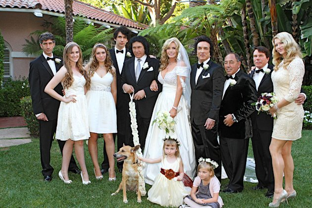 "Gene Simmons and Shannon Tweed with their wedding party on ""Gene Simmons Family Jewels."""