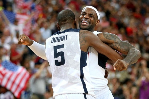 Kevin Durant #5 of the United States and team mate LeBron James #6 of the United States celebrate in the Men's Basketball gold medal game between the United States and Spain on Day 16 of the London 20
