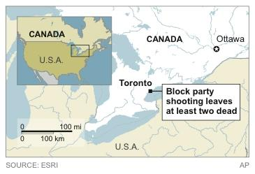 Map locates Toronto, where a block party shooting leaves at least two dead and 19 injured