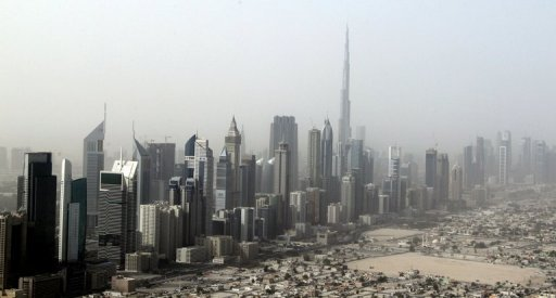 An aerial view taken on May 27, 2012, shows buildings along the Sheikh Zayed Road in Dubai. UAE security forces have arrested more than 10 people linked to Egypt's Muslim Brotherhood who recruited members in the Gulf state, a newspaper reported on Tuesday