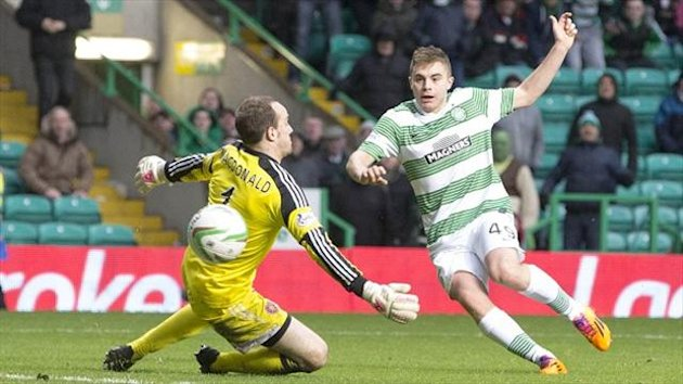 James Forrest beats Jamie MacDonald to score Celtic's second goal