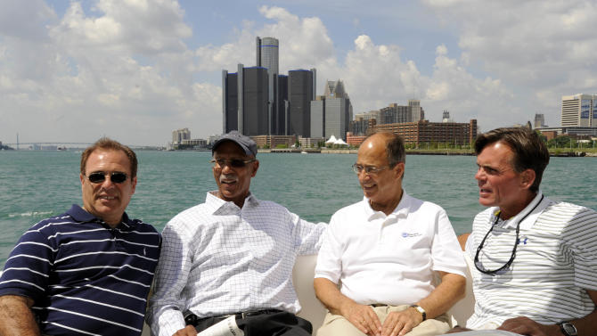FILE - In this Aug. 1, 2011 file photo, from left: Wayne County Executive Robert Ficano;  Detroit Mayor Dave Bing; Dr. Jim Jacobs, president of Macomb Community College,  and Macomb County Executive Mark Hackel  tour Lake St. Clair and the Detroit River. The former NBA great, who transitioned smoothly to owner and founder of a steel supply company, became Mayor of Detroit in 2009.  In basketball and business, he never side-stepped a challenge, but the overwhelming weight of Detroit's financial problems and other troubles have convinced Bing to pass control of the city over to the state. (AP Photo/Detroit News, Charles V. Tines, File)