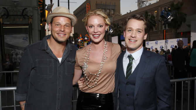 "Justin Chambers, Katherine Heigl and T. R. Knight arrive at the LA premiere of ""42"" at the TCL Chinese Theater on Tuesday, April 9, 2013 in Los Angeles. (Photo by Todd Williamson /Invision/AP)"