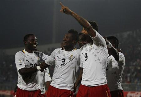 Boateng of Ghana celebrates after scoring against Egypt during 2014 World Cup qualifying second leg playoff soccer match in Cairo
