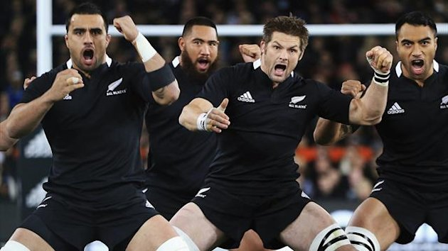 Captain Richie McCaw of New Zealand's All Blacks (2nd R) leads his team in a haka before they take on South Africa (Reuters)