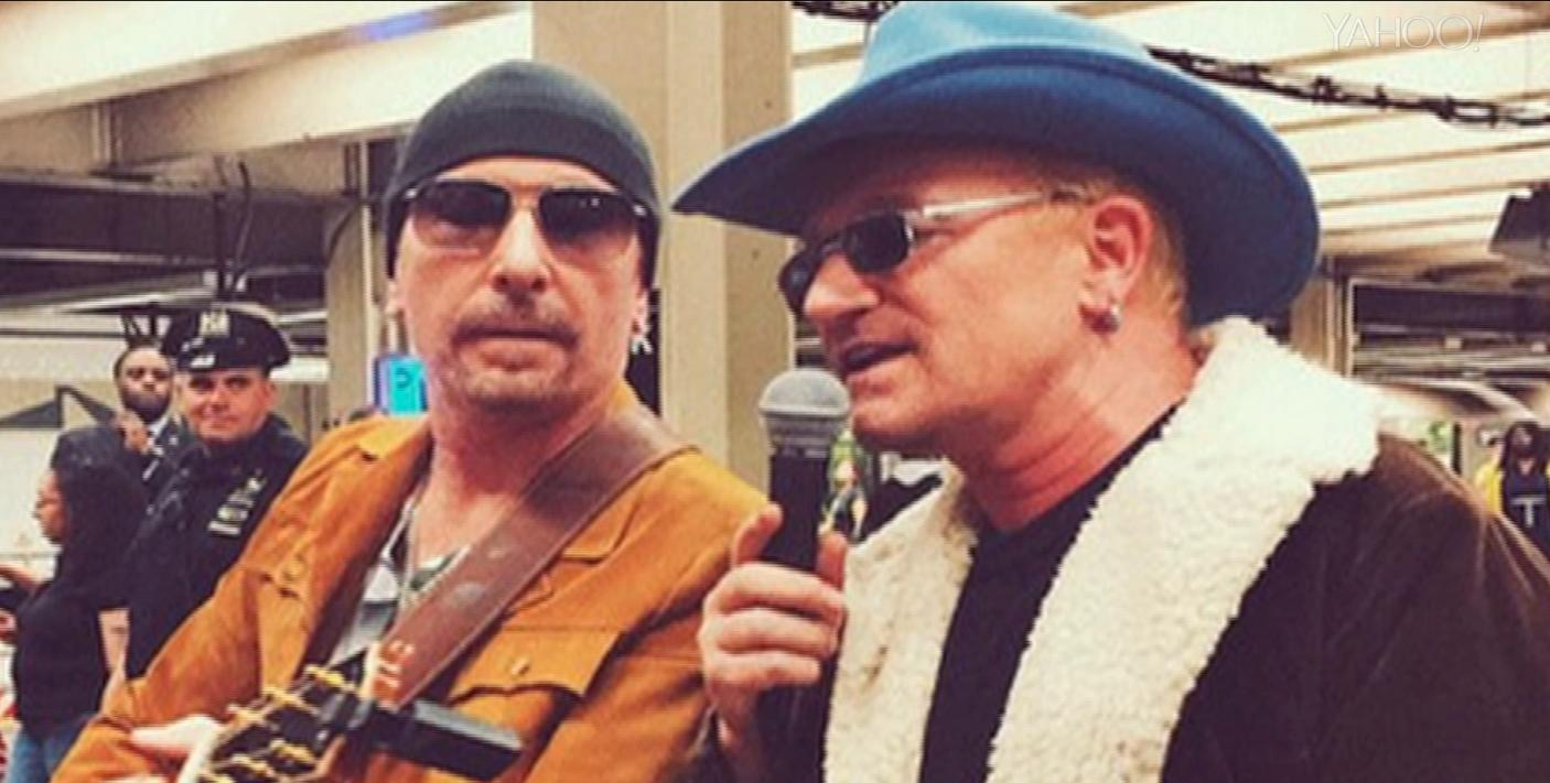 U2 surprises commuters with NYC subway concert