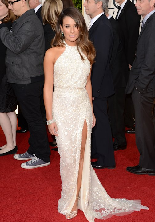 Golden Globes 2013 red carpet: Lea Michele shimmered in her elegant white halterneck gown ©Getty