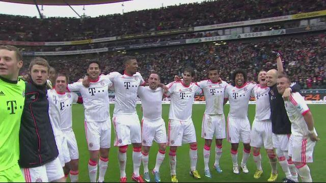 Bayern Munich celebrate winning Bundesliga title