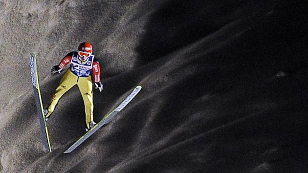 Germany&#39;s Richard Freitag soars in the air during the 16th World Cup Ski Jumping competition in Zakopane in 2012 (AFP)