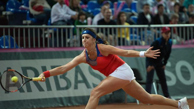 Anastasia Pavlyuchenkova of Russia  returns a shot to Sabine Lisicki of Germany  during their Fed Cup semifinal tennis match in Sochi, Russia, Saturday, April 18, 2015. (AP Photo/Artur Lebedev)