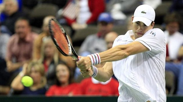 John Isner of the U.S. hits a return to Brazil&#39;s Thiago Alves during their Davis Cup match in Jacksonville, Florida (AFP)