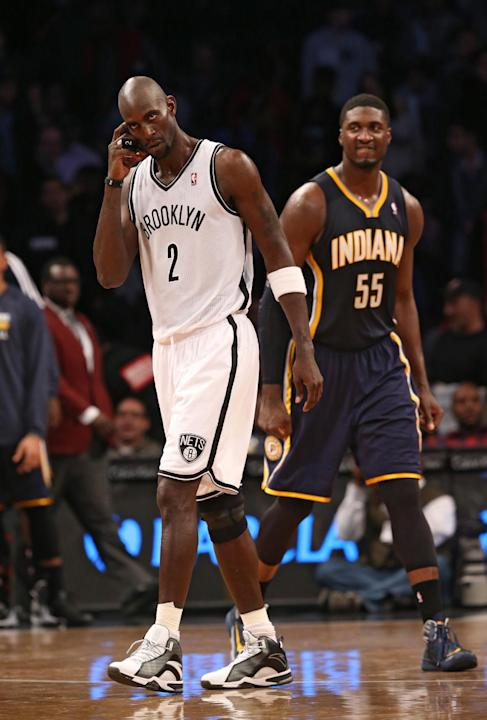Brooklyn Nets power forward Kevin Garnett (2) reacts after an NBA basketball game against the Indiana Pacers, Saturday, Nov. 9, 2013, at the Barclays Center in New York. The Indiana Pacers defeated th