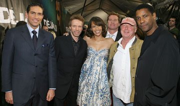 Jim Caviezel , Jerry Bruckheimer , producer, Paula Patton , Val Kilmer , Tony Scott , director and Denzel Washington at the New York premiere of Touchstone Pictures' Deja Vu