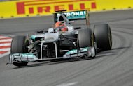Mercedes-AMG driver Michael Schumacher of Germany steers his car during the third practice session of the Formula One Korean Grand Prix in Yeongam on October 13. Mercedes have insisted they do not plan to ease off in the final four races of the Formula One season to concentrate on the arrival of Lewis Hamilton from McLaren next year to replace Schumacher