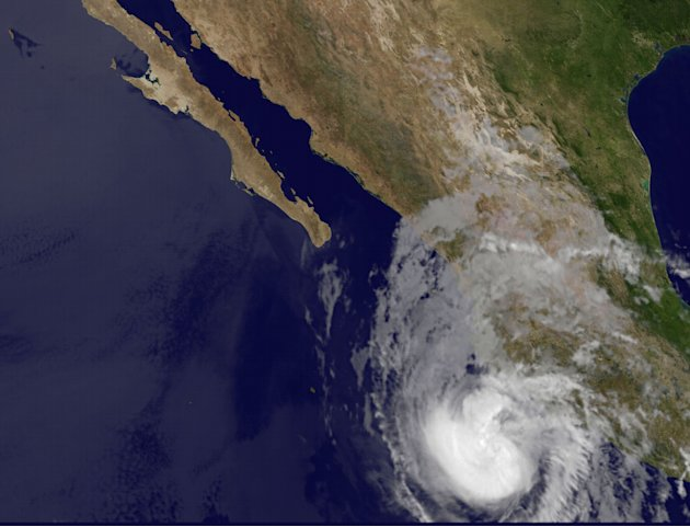 This image provided by NASA taken at 1:15 a.m. EDT Friday May 25, 2012 shows Hurricane Bud. The U.S. National Hurricane Center says Hurricane Bud has strengthened off the southwestern coast of Mexico.