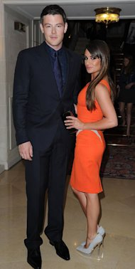 Lea Michele is trendy in tangerine at Versace Haute Couture show