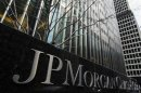 A sign stands in front of the JPMorgan Chase &amp; Co bank headquarters building in New York