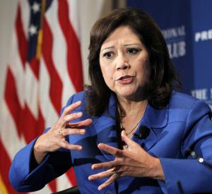 Labor Secretary Hilda Solis speaks about employment situation and job creation in the U.S., ahead of Labor Day and the election season, Tuesday, Aug. 30, 2011, at the National Press Club in Washington.   (AP Photo/Manuel Balce Ceneta)