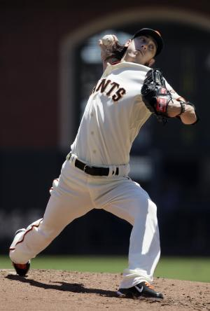 San Francisco Giants pitcher Tim Lincecum delivers against the Los Angeles Dodgers during the second inning of a baseball game in San Francisco, Wednesday, June 27, 2012. (AP Photo/Jeff Chiu)