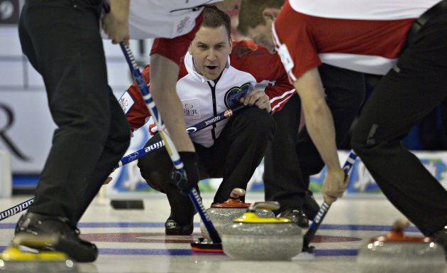 Newfoundland skip Gushue watches the line of rock during play at the Canadian Men's Curling Championships in Edmonton