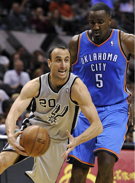San Antonio Spurs shooting guard Manu Ginobili, left, of Argentina, drives around Oklahoma City Thunder center Kendrick Perkins during the first half of an NBA basketball game, Saturday, Dec. 21, 2013