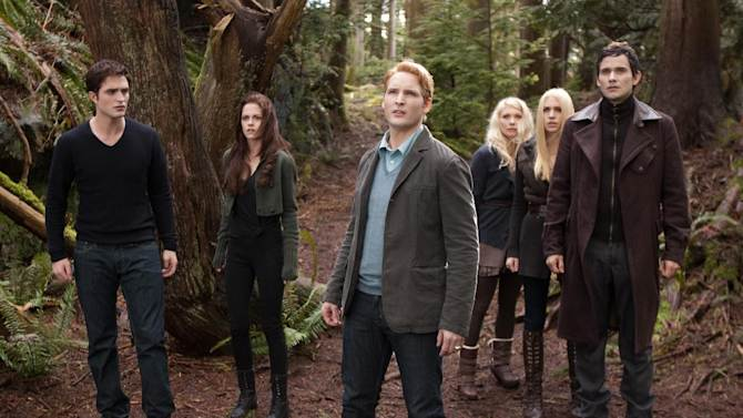 """This film image released by Summit Entertainment shows, from left, Robert Pattinson, Kristen Stewart, Peter Facinelli, MyAnna Buring, Casey LaBow and Christian Camargo in a scene from """"The Twilight Saga: Breaking Dawn Part 2."""" (AP Photo/Summit Entertainment, Andrew Cooper)"""