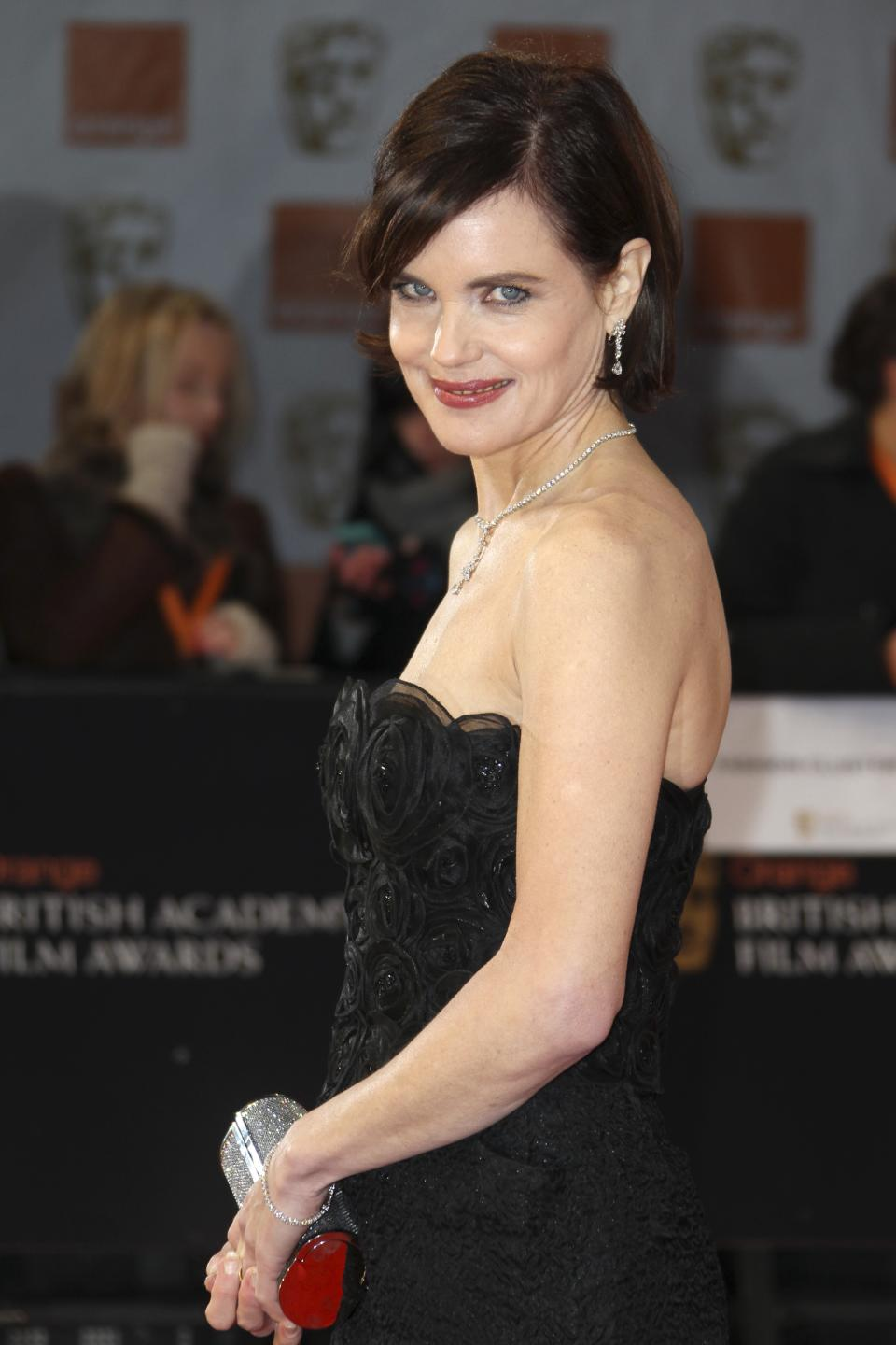 Actress Elizabeth McGovern arrives for the BAFTA Film Awards 2012, at The Royal Opera House in London, Sunday, Feb. 12, 2012. (AP Photo/Joel Ryan)