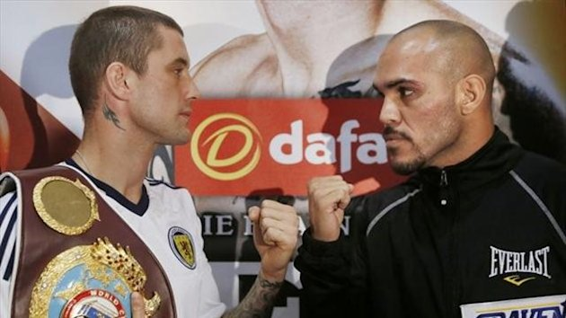 Ricky Burns and Raymundo Beltran during a press conference at the Marriott Hotel in Glasgow, ahead of their fight on Saturday at the SECC (PA Sport)