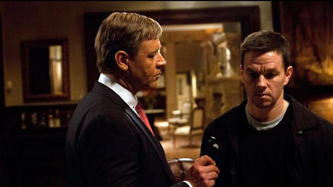 """This film image released by 20th Century Fox shows Russell Crowe, left, and Mark Wahlberg in a scene from """"Broken City."""" (AP Photo/20th Century Fox, Barry Wetcher)"""