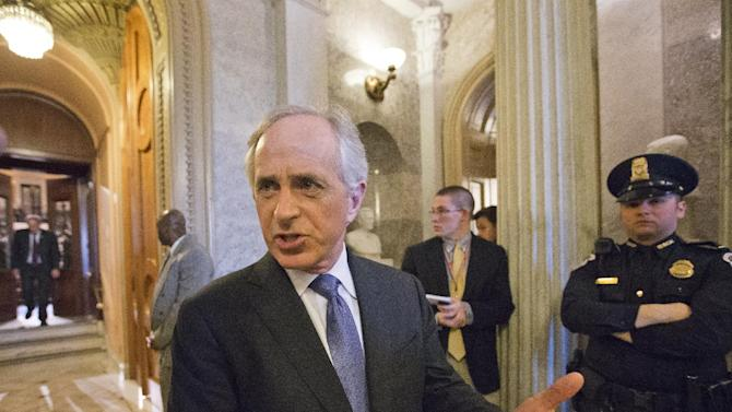 Sen. Bob Corker, R-Tenn., leaves the Senate chamber as Senate Republicans stalled the nomination of former GOP senator Chuck Hagel as the nation's next secretary of defense, at the Capitol in Washington, Thursday, Feb. 14, 2013. (AP Photo/J. Scott Applewhite)