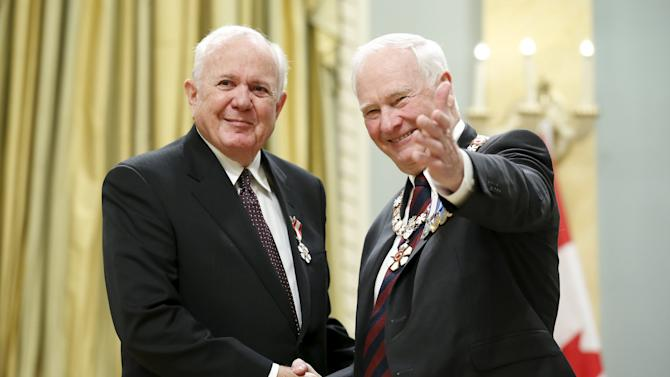 Craig poses with Johnston after being awarded the Order of Canada in Ottawa