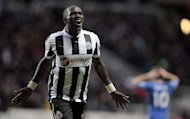 Newcastle United's midfielder Moussa Sissoko celebrates scoring against Chelsea during an English Premier League football match at St James Park in Newcastle upon Tyne, England, on February 2, 2013. Newcastle won 3-2