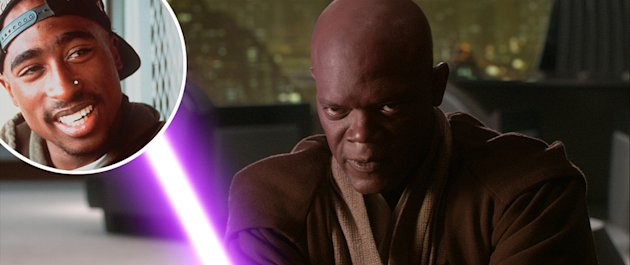 Tupac Shakur - inset, and Samuel L. Jackson as Mace Windu