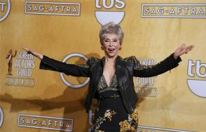 Rita Moreno poses after receiving her lifetime achievement award at the 20th annual Screen Actors Guild Awards in Los Angeles