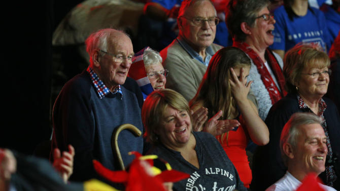 Men's Doubles -  Roy Erskine and Eileen Shirley Grandparents of Great Britain's Andy Murray and Jamie Murray watch from the crowd during their match against Belgium's Steve Darcis and David Goffin