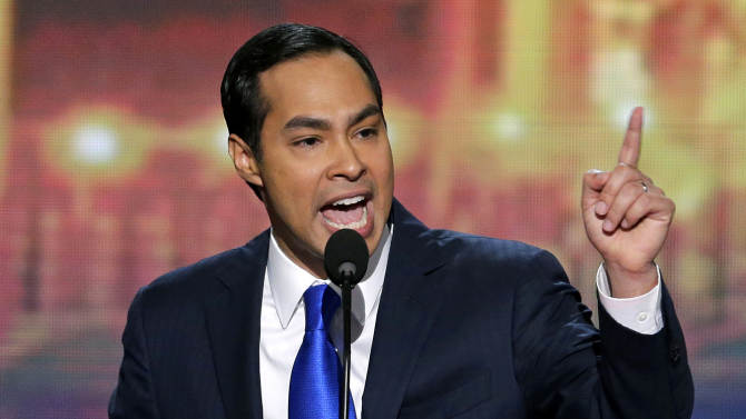 San Antonio Mayor Julian Castro addresses the Democratic National Convention in Charlotte, N.C., on Tuesday, Sept. 4, 2012. (AP Photo/J. Scott Applewhite)