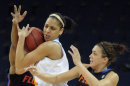 Tennessee forward Cierra Burdick tries to keep the ball from Florida guard Carlie Needles (4) during the first half of an NCAA college basketball game in the Southeastern Conference tournament, Friday, March 8, 2013, in Duluth, Ga. AP Photo/John Amis)