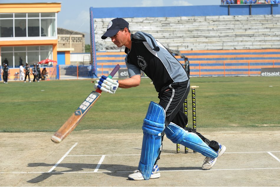 A disabled Afghan cricketer participates