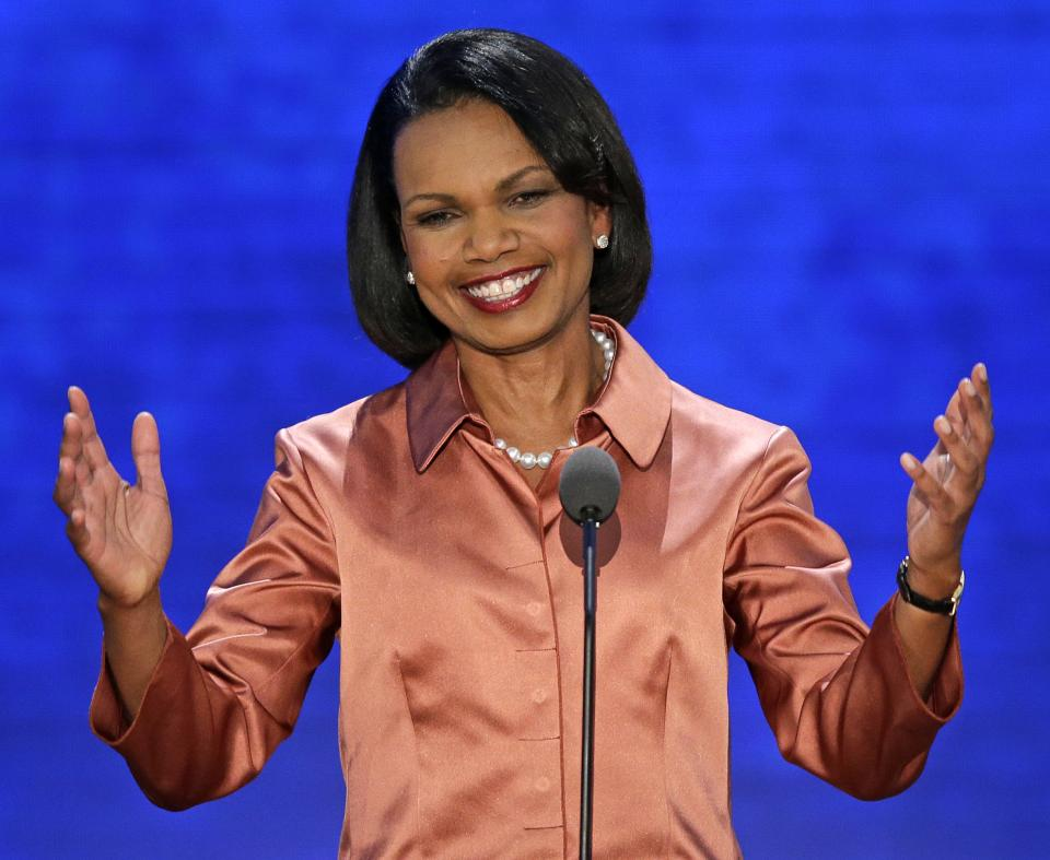 Former Secretary of State Condoleezza Rice addresses the Republican National Convention in Tampa, Fla., on Wednesday, Aug. 29, 2012. (AP Photo/J. Scott Applewhite)